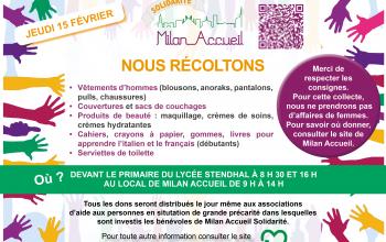 (Français) Collecte de Milan Accueil du 15 février 2018 en faveur de plusieurs associations humanitaires dont la SFBML